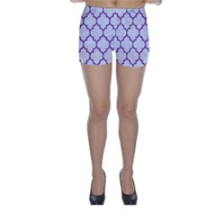 Tile1 White Marble & Purple Denim (r) Skinny Shorts by trendistuff