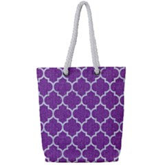 Tile1 White Marble & Purple Denim Full Print Rope Handle Tote (small) by trendistuff