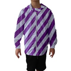 Stripes3 White Marble & Purple Denim (r) Hooded Wind Breaker (kids) by trendistuff