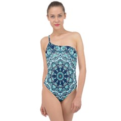 Green Blue Black Mandala  Psychedelic Pattern Classic One Shoulder Swimsuit