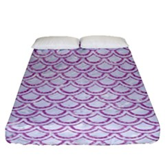 Scales2 White Marble & Purple Glitter (r) Fitted Sheet (queen Size) by trendistuff