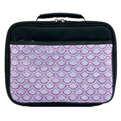 Scales2 White Marble & Purple Glitter (r) Lunch Bag