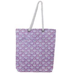 Scales2 White Marble & Purple Glitter (r) Full Print Rope Handle Tote (large) by trendistuff