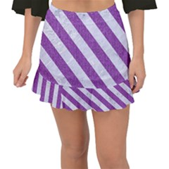 Stripes3 White Marble & Purple Denim Fishtail Mini Chiffon Skirt by trendistuff
