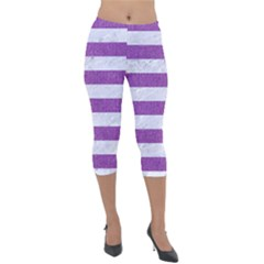 Stripes2white Marble & Purple Denim Lightweight Velour Capri Leggings  by trendistuff