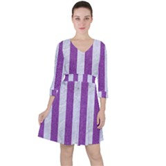 Stripes1 White Marble & Purple Denim Ruffle Dress