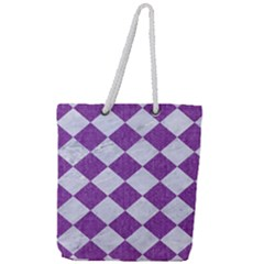 Square2 White Marble & Purple Denim Full Print Rope Handle Tote (large) by trendistuff