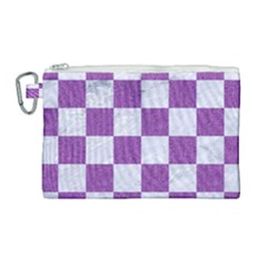 Square1 White Marble & Purple Denim Canvas Cosmetic Bag (large) by trendistuff