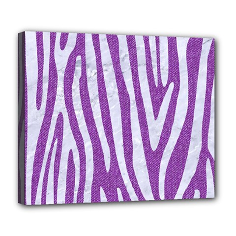 Skin4 White Marble & Purple Denim (r) Deluxe Canvas 24  X 20   by trendistuff