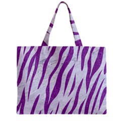 Skin3 White Marble & Purple Denim (r) Zipper Mini Tote Bag by trendistuff