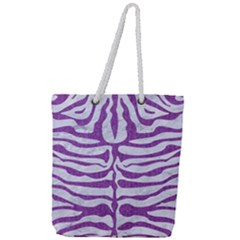 Skin2 White Marble & Purple Denim (r) Full Print Rope Handle Tote (large) by trendistuff
