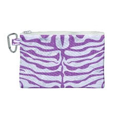 Skin2 White Marble & Purple Denim (r) Canvas Cosmetic Bag (medium) by trendistuff