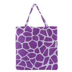 Skin1 White Marble & Purple Denim (r) Grocery Tote Bag by trendistuff