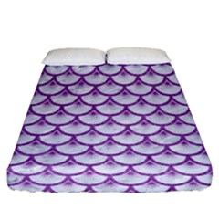 Scales3 White Marble & Purple Denim (r) Fitted Sheet (queen Size) by trendistuff