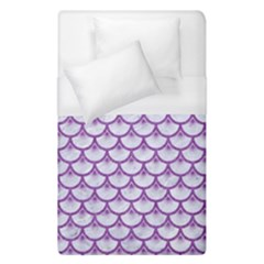 Scales3 White Marble & Purple Denim (r) Duvet Cover (single Size) by trendistuff
