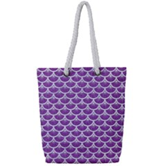 Scales3 White Marble & Purple Denim Full Print Rope Handle Tote (small) by trendistuff