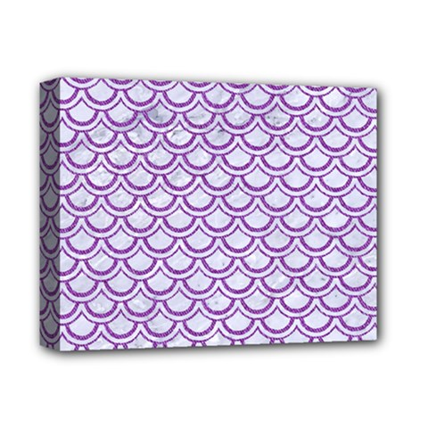 Scales2 White Marble & Purple Denim (r) Deluxe Canvas 14  X 11  by trendistuff