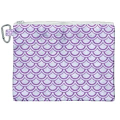 Scales2 White Marble & Purple Denim (r) Canvas Cosmetic Bag (xxl) by trendistuff