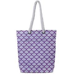 Scales1 White Marble & Purple Denim (r) Full Print Rope Handle Tote (small) by trendistuff