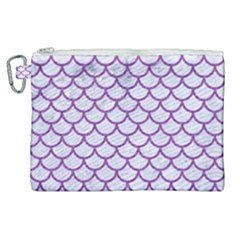 Scales1 White Marble & Purple Denim (r) Canvas Cosmetic Bag (xl) by trendistuff