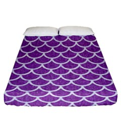 Scales1 White Marble & Purple Denim Fitted Sheet (queen Size) by trendistuff