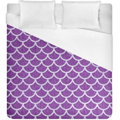 Scales1 White Marble & Purple Denim Duvet Cover (king Size) by trendistuff