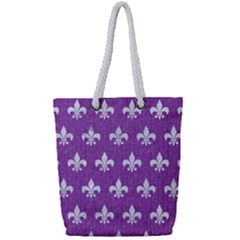 Royal1 White Marble & Purple Denim (r) Full Print Rope Handle Tote (small)