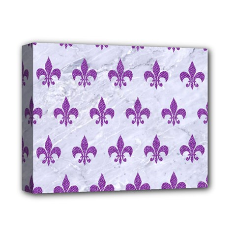 Royal1 White Marble & Purple Denim Deluxe Canvas 14  X 11  by trendistuff