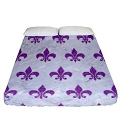 Royal1 White Marble & Purple Denim Fitted Sheet (queen Size) by trendistuff