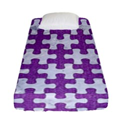 Puzzle1 White Marble & Purple Denim Fitted Sheet (single Size)