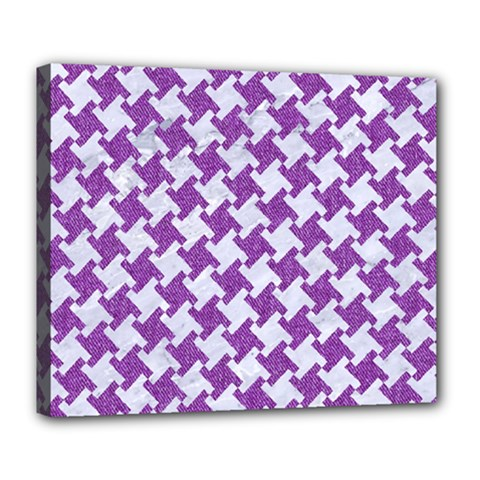 Houndstooth2 White Marble & Purple Denim Deluxe Canvas 24  X 20