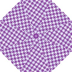 Houndstooth2 White Marble & Purple Denim Hook Handle Umbrellas (large) by trendistuff
