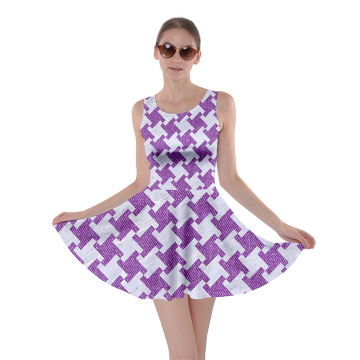 HOUNDSTOOTH2 WHITE MARBLE & PURPLE DENIM Skater Dress