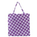 HOUNDSTOOTH2 WHITE MARBLE & PURPLE DENIM Grocery Tote Bag View1
