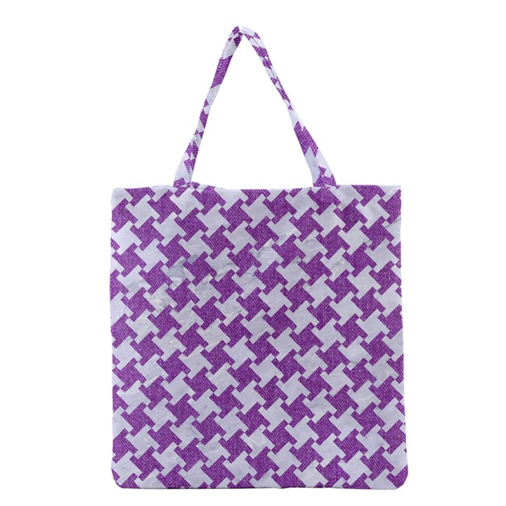 HOUNDSTOOTH2 WHITE MARBLE & PURPLE DENIM Grocery Tote Bag