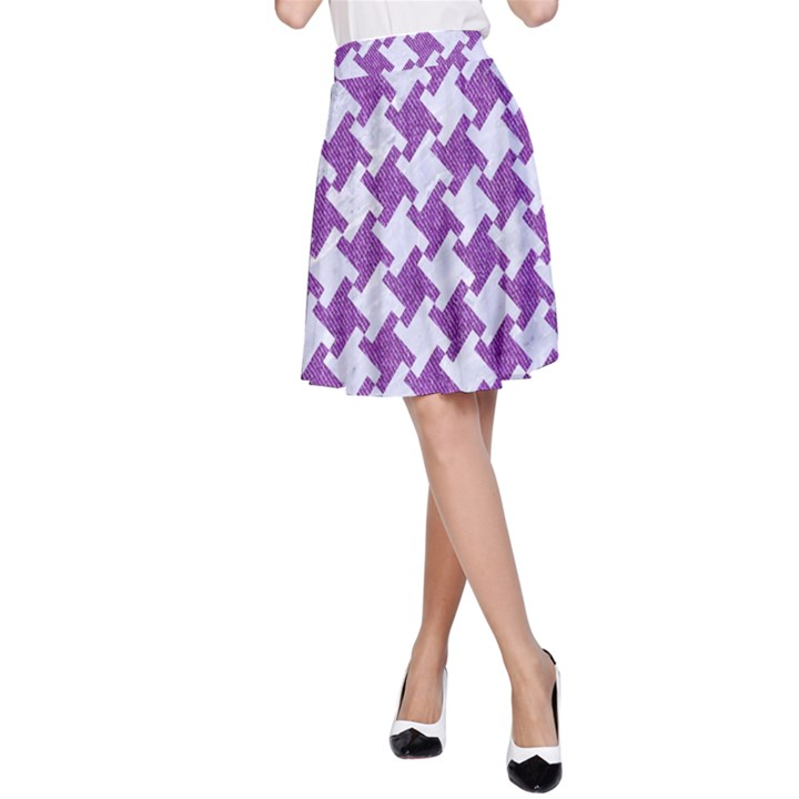HOUNDSTOOTH2 WHITE MARBLE & PURPLE DENIM A-Line Skirt