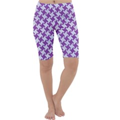 Houndstooth2 White Marble & Purple Denim Cropped Leggings  by trendistuff