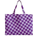 HOUNDSTOOTH2 WHITE MARBLE & PURPLE DENIM Zipper Mini Tote Bag View2