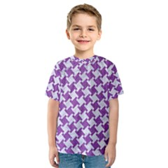 Houndstooth2 White Marble & Purple Denim Kids  Sport Mesh Tee by trendistuff