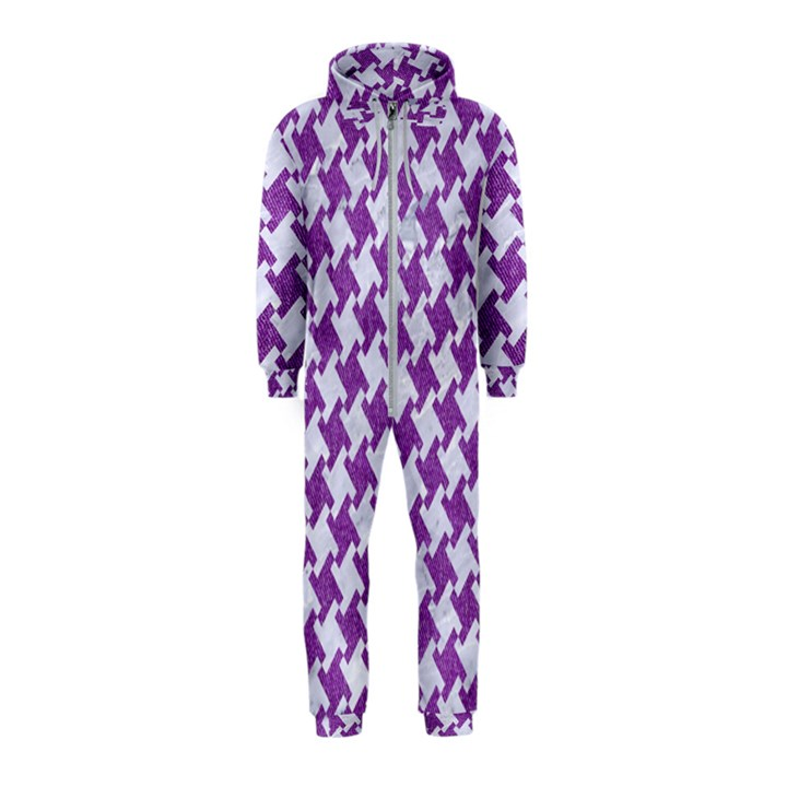 HOUNDSTOOTH2 WHITE MARBLE & PURPLE DENIM Hooded Jumpsuit (Kids)