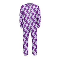 Houndstooth2 White Marble & Purple Denim Onepiece Jumpsuit (kids)