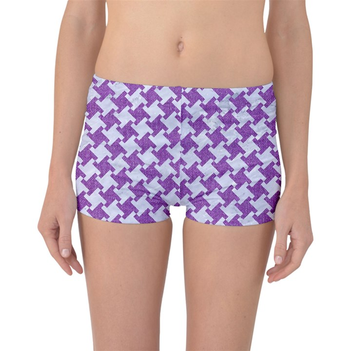 HOUNDSTOOTH2 WHITE MARBLE & PURPLE DENIM Boyleg Bikini Bottoms