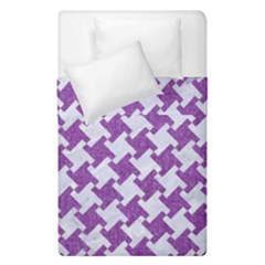 Houndstooth2 White Marble & Purple Denim Duvet Cover Double Side (single Size)