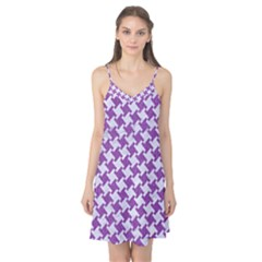 Houndstooth2 White Marble & Purple Denim Camis Nightgown