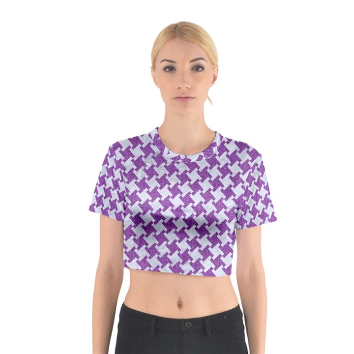 HOUNDSTOOTH2 WHITE MARBLE & PURPLE DENIM Cotton Crop Top
