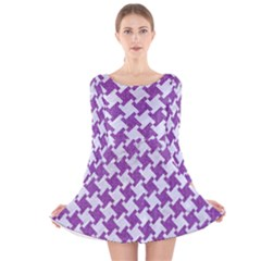 Houndstooth2 White Marble & Purple Denim Long Sleeve Velvet Skater Dress by trendistuff