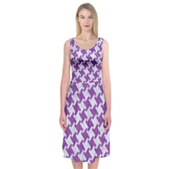 Houndstooth2 White Marble & Purple Denim Midi Sleeveless Dress by trendistuff