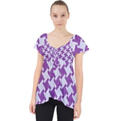 Houndstooth2 White Marble & Purple Denim Lace Front Dolly Top by trendistuff