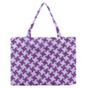 HOUNDSTOOTH2 WHITE MARBLE & PURPLE DENIM Zipper Medium Tote Bag View1