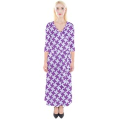 Houndstooth2 White Marble & Purple Denim Quarter Sleeve Wrap Maxi Dress by trendistuff